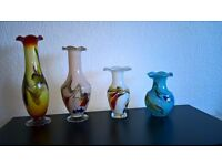 Antique End Of Day Glass Vases Collection of Four Vases Excellent Condition