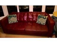 Tan Leather 3 Seat Settee