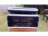 2 X Crown XLS 602 power amps & flight case