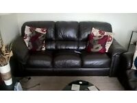 Four Piece Real leather suite 1 x 3 seater, 1 x 2 seater, 1 x armchair 1x pouffe