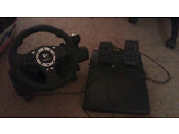 Logitech Steering Wheel with pedals, perfect for racing games! £30 collection Frimley