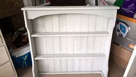 Pretty vintage dresser shelves, originally from a Victorian pine dresser,painted pale grey