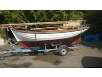 Traditional wooden sail boat Orkney Yole / Yawl