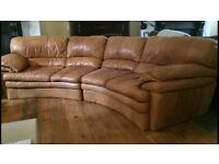 Italian soft leather curve sofa