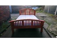 4'6 DOUBLE SOLID WOOD BED FRAME WITH MATTRESS FREE LOCAL DELIVERY