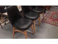 3 Vintage Retro Danish Dining Chairs Made . com Thelma Style Oak Black