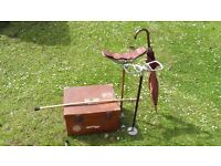 VINTAGE SMALL CHEST,WOODEN UMBRELLA, SHOOTING STICK X 2,AND CANE. GARAGE CLEARANCE