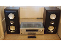 Yamaha amplifier and Sony speakers