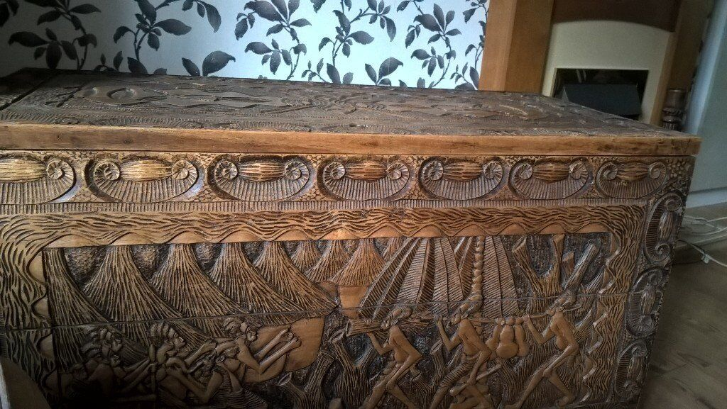 huge tribal hand carved solid wood trunk, chest, coffer, box delivery available