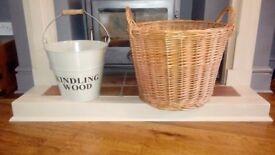 Large Wicker Log Basket & Garden Trading Kindling Bucket