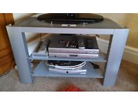 Silver Tv table with 2 shelves