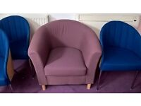 2 X HEATHER PURPLE FABRIC TUB HOME-OFFICE RECEPTION MEETING ROOM CHAIRS