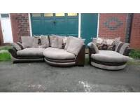 Brown & cream jumbo cord sofa & swivel chair. Can deliver.