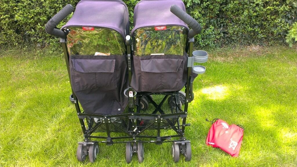 Maclaren Double Great conditionin St Albans, HertfordshireGumtree - Great condition double buggy, comes with two buggy liners and two cosy toes and rain cover in excellent condition. Buggy liners are reversible so one side is fleece like for winter other side for spring/ summer. Slight split in left handle , see...