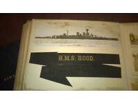 HMS Hood hat ribbon and various naval pictures and ephemera 1920s/1930s