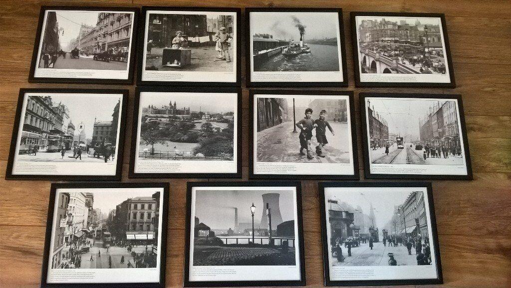 11 x Black & white framed prints of Old Glasgow   in East Kilbride ...
