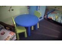 Ikea Kids Table & chairs, bum board car seat, Ikea bedside light