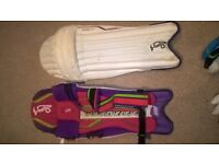junior batsmen equipment, cricket bat, gloves, helmet and pads