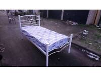3'SINGLE WHITE METAL HEART BED WITH MATTRESS FREE LOCAL DELIVERY