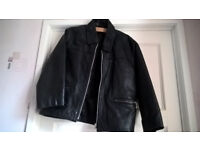 Kids black leather zipped jacket for boy/girl. Size 30 - £10
