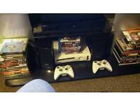Xbox 360 with 2 controller media remote all leads xcon plus 50 games bargin