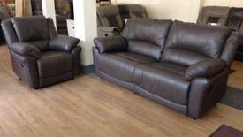 BROWN LEATHER Manual Recliner 3+1 Sofa Suite