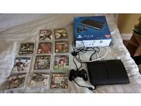PS3 console in excellent condition with 1 controller and 11 games including FIFA16 & GTA5