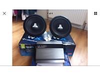 JL Audio 2x 12wx-4 Subs With Box & J2 500.1 Monoblock Amp, New. Car Audio, Ice.