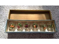 New in box fruit decorative shot glasses
