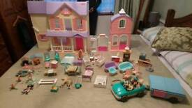 Vintage Fisher Price Doll House, Car, Caravan and Accessories