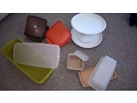 Vintage Tupperware cake-stand and assorted containers