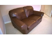 3 seater and 2 seater matching brown leather sofas