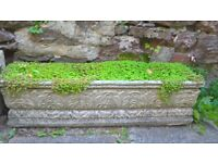 LARGE-CONCRETE DECORATIVE GARDEN TROUGHS - 32 INCHES BY 8 INCHES BY 8 INCGES -TORQUAY - DEVON