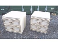 Pair of Vintage Shabby Chic 2 Drawer Bedside Cabinets - Good Order - In Devon