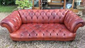 Beautiful Tetrad DFS Oskar Large 3 Seater Chesterfield Tan Leather Sofa