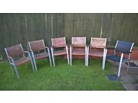Modern wood & silver frame garden patio bench, table and 6x chairs. Fab expensive set needs re paint