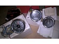 Classic Car Rev Counter and 2 other gauges. Boxed and made by Yazaki.