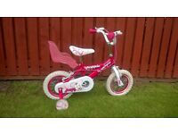 12 Inch Pink Girls Bike With Stabilisers For 3-4 Year Old