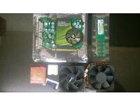 job lot nvidia 7600 gt 256mb ddr3 graphics card - e5400 2.7 core2 cpu - 1gb corsair ram 2x 80mm fans