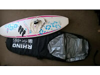 "Bic Mini Malibu Wahine Surf Board 7'3"" Ladies(with leash, fins & Rhino bag)"