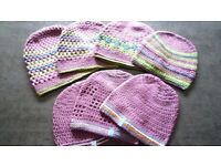 Hand crocheted ladies and girls hats. Set of 7. Various colours and sizes. Ideal Xmas presents !!!