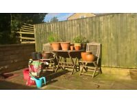 GARDEN TABLE AND 2 CHAIRS SHABBY CHIC WOOD STAIN GLUSBURN BD20 8DW
