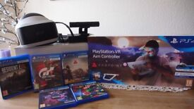 SONY PLAYSTATION VR HEADSET &CAMERA+5 GAMES+AIM CONTROLLER+2 MOVE CONTROLLES