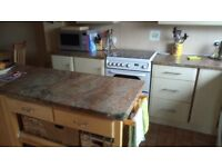 FANTASTIC MARBLE WORKTOP, kitchen units and white goods available early October.