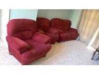 Red comfy 3 piece suite