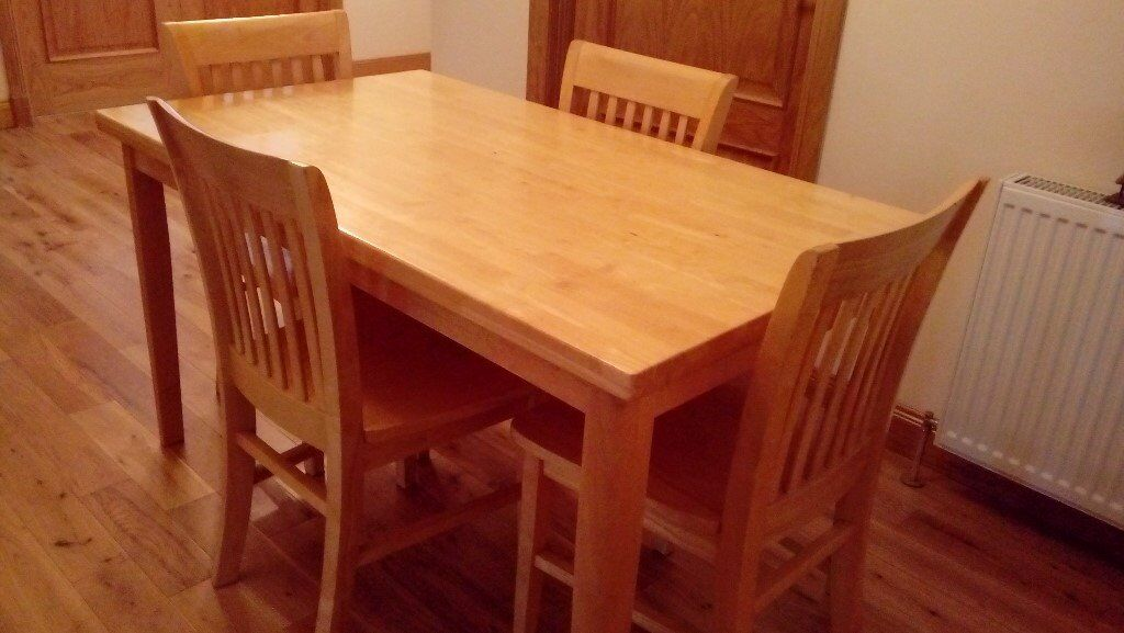 Dining Table U0026 4 Chairs. Solid Hardwood (rubberwood) Originally From MFI