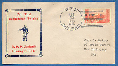 NAVAL COVER USS CUTTLEFISH SS-171 FIRST WASHINGTONS BIRTHDAY 22 FEB 1935
