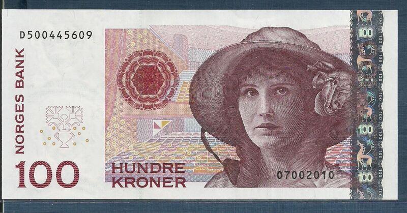 Norway 100 Kroner, 2010, P 49e, Prefix D, UNC