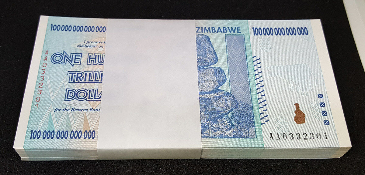 ZIMBABWE 2008 P91 100 Trillion Dollars Full Bundle 100pcs UNC 0332301~0332400