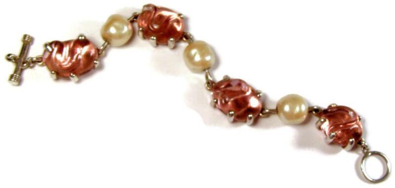 Designer Mariquita Masterson Pink Poured Glass & Pearl Sterling Silver Bracelet